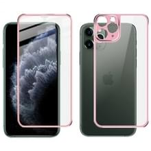 Voor iPhone 11 Pro Max IMAK Metal Frame Full Screen Tempered Glass Film Screen Film + Back Film(Pink)
