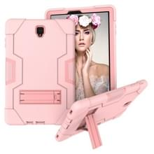 Voor Galaxy Tab S4 10.5 T830 Contrast Color Silicone + PC Combination Case with Holder (Rose Gold)