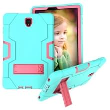 Voor Galaxy Tab S4 10.5 T830 Contrast Color Silicone + PC Combination Case with Holder (Aqua + Rose Red)