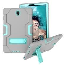 Voor Galaxy Tab S4 10.5 T830 Contrast Color Silicone + PC Combination Case with Holder (Grey + Aqua)
