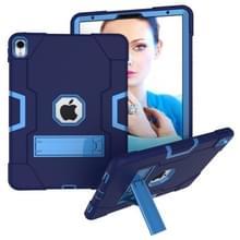 Voor iPad Pro 11 contrast kleur silicone + PC combinatie geval met houder (marineblauw + blauw)