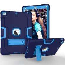 Voor iPad 5/4 contrast kleur silicone + PC combinatie geval met houder (marineblauw + blauw)