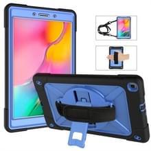 Voor Galaxy tab A 8 0 (2019) T290 contrast kleur silicone + PC combinatie geval met houder (zwart + blauw)