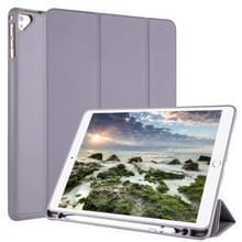 Voor iPad 9 / 8 / 7 / 6 / 5 Horizontale Flip Tablet PC PU Lederen Hoes met drie opvouwbare houder & pensleuf (grijs)