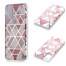 Voor Galaxy S20+ Plating Marble Pattern Soft TPU Protective Case (Roze)