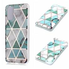 Voor Galaxy S20+ Plating Marble Pattern Soft TPU Protective Case (Groen Wit)