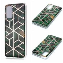 Voor Galaxy S20+ Plating Marble Pattern Soft TPU Protective Case(Groen)