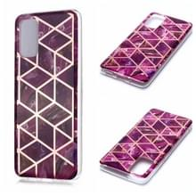 Voor Galaxy S20+ Plating Marble Pattern Soft TPU Protective Case(Paars)