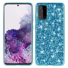 Voor Galaxy S20+ Plating Glittery Powder Shockproof TPU Protective Case(Blauw)