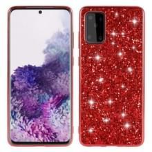 Voor Galaxy S20+ Plating Glittery Powder Shockproof TPU Beschermhoes (Rood)