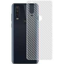 Voor Motorola Moto P40 Power / One Action IMAK PVC Carbon Fiber Textuur Doorschijnende Feel Back Film