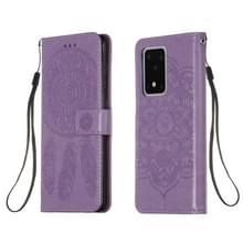 Voor Galaxy S20 Ultra Dream Catcher Printing Horizontal Flip Leather Case met Holder & Card Slots & Wallet & Lanyard(Purple)