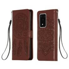 Voor Galaxy S20 Ultra Dream Catcher Printing Horizontal Flip Leather Case met Holder & Card Slots & Wallet & Lanyard(Brown)