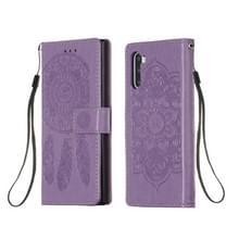 Voor Galaxy Note 10 Dream Catcher Print Horizontale Flip Lederen Hoes met Houder & Card Slots & Wallet & Lanyard(Purple)