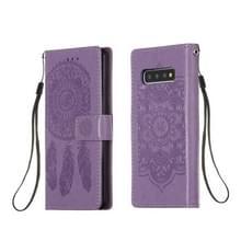 Voor Galaxy S10 Dream Catcher Printing Horizontal Flip Leather Case met Holder & Card Slots & Wallet & Lanyard(Purple)