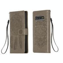Voor Galaxy S10 Dream Catcher Printing Horizontal Flip Leather Case met Holder & Card Slots & Wallet & Lanyard(Grijs)