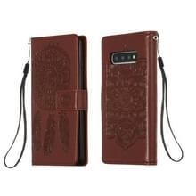 Voor Galaxy S10 Dream Catcher Printing Horizontal Flip Leather Case met Holder & Card Slots & Wallet & Lanyard(Brown)
