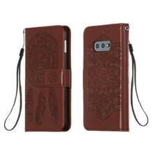 Voor Galaxy S10e Dream Catcher Printing Horizontal Flip Leather Case met Holder & Card Slots & Wallet & Lanyard(Brown)