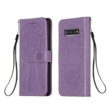 Voor Galaxy S10 Plus Dream Catcher Printing Horizontal Flip Leather Case met Holder & Card Slots & Wallet & Lanyard(Purple)