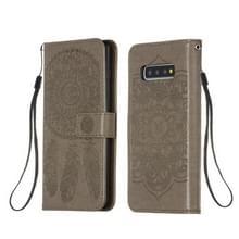 Voor Galaxy S10 Plus Dream Catcher Printing Horizontal Flip Leather Case met Holder & Card Slots & Wallet & Lanyard(Grijs)