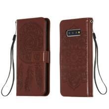 Voor Galaxy S10 Plus Dream Catcher Printing Horizontal Flip Leather Case met Holder & Card Slots & Wallet & Lanyard(Brown)