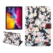 Voor iPad Pro 11 inch 2020 PC + Links en rechts Bloeiende Doek Holster Portemonnee Kaarthouder met dormancy (Zwarte Bloem)