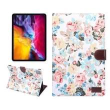 Voor iPad Pro 11 inch 2020 PC + Links en rechts Bloeiende Doek Holster Portemonnee Kaarthouder met dormancy (Witte Bloem)