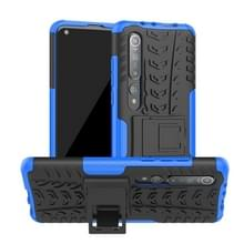 Voor Xiaomi Mi 10 Tire Texture Shockproof TPU+PC Protective Case with Holder (Blue)