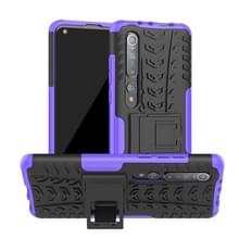 Voor Xiaomi Mi 10 Tire Texture Shockproof TPU+PC Protective Case with Holder (Purple)