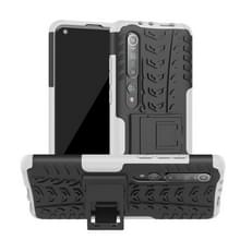 Voor Xiaomi Mi 10 Tire Texture Shockproof TPU+PC Protective Case with Holder (White)