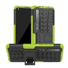 Voor Xiaomi Mi 10 Tire Texture Shockproof TPU+PC Protective Case with Holder (Green)