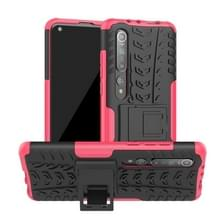 Voor Xiaomi Mi 10 Tire Texture Shockproof TPU+PC Protective Case with Holder (Rose Red)