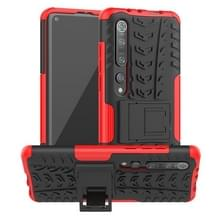 Voor Xiaomi Mi 10 Pro Tire Texture Shockproof TPU+PC Protective Case with Holder (Red)