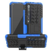 Voor Xiaomi Mi 10 Pro Tire Texture Shockproof TPU+PC Protective Case with Holder(Blue)