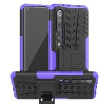 Voor Xiaomi Mi 10 Pro Tire Texture Shockproof TPU+PC Protective Case with Holder (Purple)