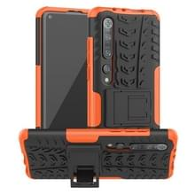 Voor Xiaomi Mi 10 Pro Tire Texture Shockproof TPU+PC Protective Case with Holder (Orange)