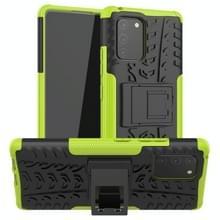 Voor Galaxy S10e Tire Texture Shockproof TPU+PC Protective Case met Houder (Groen)
