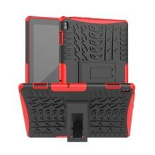 Voor Lenovo Tab E10 Tire Texture Shockproof TPU+PC Protective Case with Holder(Red)