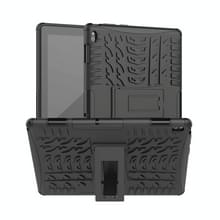 Voor Lenovo Tab E10 Tire Texture Shockproof TPU+PC Protective Case with Holder (Black)