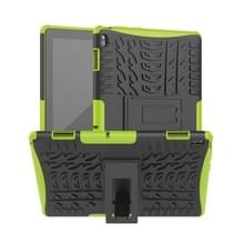 Voor Lenovo Tab E10 Tire Texture Shockproof TPU+PC Protective Case with Holder(Green)