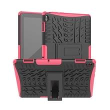 Voor Lenovo Tab E10 Tire Texture Shockproof TPU+PC Protective Case with Holder (Rose Red)