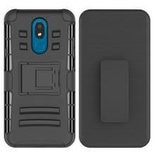 Voor LG K30 (2019) PC + Siliconen Back Clip Sliding Sleeve Protective Case(Zwart)