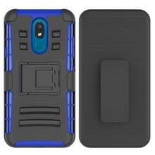 Voor LG K30 (2019) PC + Siliconen back clip sliding case(blauw)