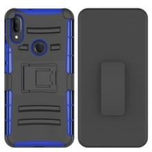 Voor Alcatel 3V PC + Siliconen Back Clip Sliding Case (Blauw)