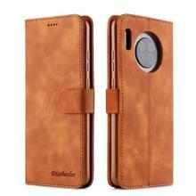 Voor Huawei Mate 30 Diaobaolee Pure Fresh Grain Horizontal Flip Leather Case met Holder & Card Slots(Geel)