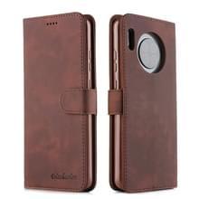 Voor Huawei Mate 30 Diaobaolee Pure Fresh Grain Horizontal Flip Leather Case met Holder & Card Slots(Brown)