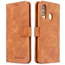 Voor Galaxy S10 Diaobaolee Pure Fresh Grain Horizontal Flip Leather Case met Houder & Card Slots(Geel)