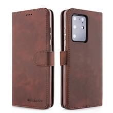 Voor Galaxy S20+ Diaobaolee Pure Fresh Grain Horizontal Flip Leather Case met Holder & Card Slots(Brown)