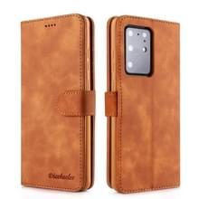 Voor Galaxy S20 Ultra Diaobaolee Pure Fresh Grain Horizontal Flip Leather Case met Houder & Card Slots(Geel)