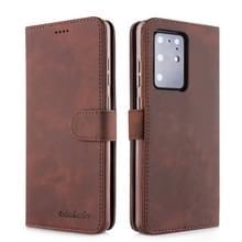 Voor Galaxy S20 Ultra Diaobaolee Pure Fresh Grain Horizontal Flip Leather Case met Holder & Card Slots(Brown)